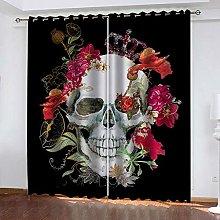 YTHSFQ Blackout curtain 3D print Flowers skull W66