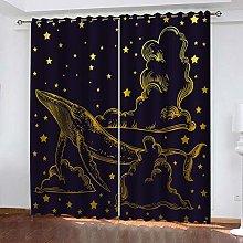 YTHSFQ Blackout curtain 3D print Golden whale W46
