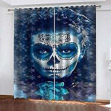 YTHSFQ Blackout curtain 3D print Horror woman W43