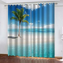 YTHSFQ Blackout curtain 3D print Palm tree