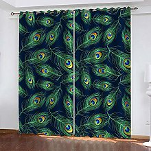 YTHSFQ Blackout curtain 3D print Peacock feather