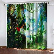 YTHSFQ Blackout curtain 3D print Peacock W46 x H54