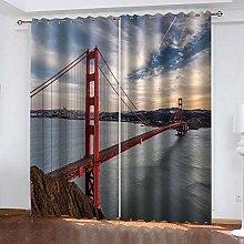 YTHSFQ Blackout curtain 3D print Red bridge W66 x