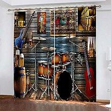 YTHSFQ Blackout curtain 3D print Rock instrument