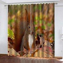 YTHSFQ Blackout curtain 3D print squirrel W43 x