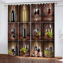 YTHSFQ Blackout curtain 3D print Wine cabinet W43