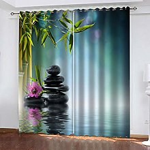 YTHSFQ Blackout Curtains 2 Panels Bamboo flower