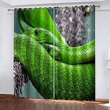 YTHSFQ Blackout Curtains 2 Panels Green snake W46