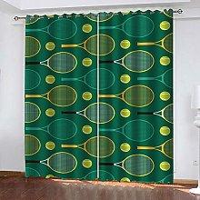 YTHSFQ Blackout Curtains 2 Panels Green tennis W43