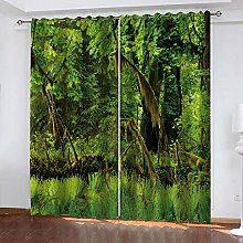 YTHSFQ Blackout Curtains 2 Panels Green woods W66