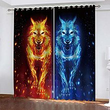 YTHSFQ Blackout Curtains 2 Panels Ice and Fire