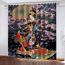 YTHSFQ Blackout Curtains 2 Panels Japanese kimono