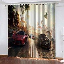 YTHSFQ Blackout Curtains 2 Panels Playground & car