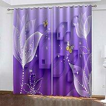 YTHSFQ Blackout Curtains 2 Panels Purple flowers