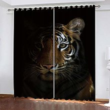 YTHSFQ Blackout Curtains 2 Panels Tiger at night