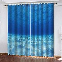 YTHSFQ Window curtain Blue sea W46 x H54 inch