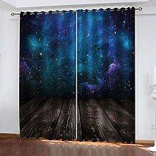 YTHSFQ Window curtain Blue starry sky W46 x H72