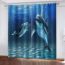 YTHSFQ Window curtain Dolphin W29.5 x H65.3 inch