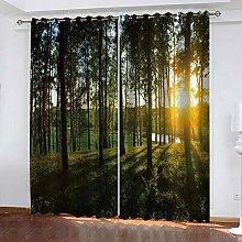 YTHSFQ Window curtain Green forest W66 x H72 inch