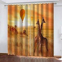 YTHSFQ Window curtain Hot air balloon & giraffe