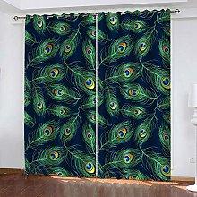 YTHSFQ Window curtain Peacock feather W43 x H85