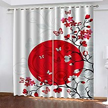 YTHSFQ Window curtain Red sun flower W66 x H72