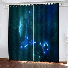 YTSDBB Darkening Curtain for Living Room Blue