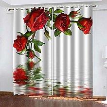 YTSDBB Darkening Curtain for Living Room Red rose