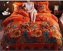 Yuan Ou Teddy Bear Bedding Coral Velvet 4-piece