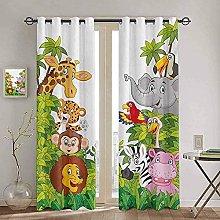 YUANCHENG Bedroom Kitchen Curtain Cartoon Zoo