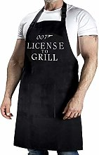 YuanDe 007 License to Grill Funny Black BBQ Apron