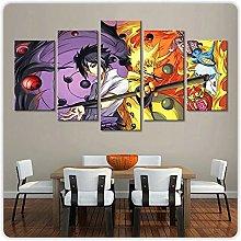 YUANJUN 5 Parts Modern Stretched Framed Wallpaper