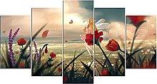 YUANJUN 5 piece Canvas Abstract flower Art Print