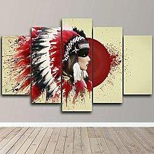 YUANJUN 5 Piece painting Wall Art Print Canvas