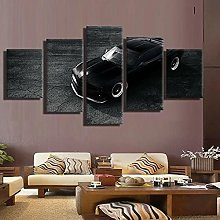YUANJUN Black Car 5 Pcs Canvas Picture Print Wall