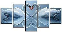 YUANJUN Blue Owl Framed 5 Piece Canvas Wall Art HD