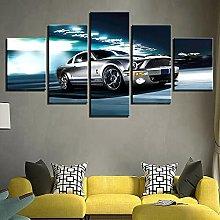 YUANJUN Car 5 Panel Canvas Picture Print Wall Art