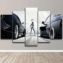 YUANJUN Car Racing 5 Piece Canvas Wall Art Print