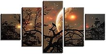 YUANJUN Crowless Moon 5 Parts Modern Stretched And