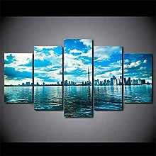 YUANJUN Framed 5 Piece Canvas Wall Art HD Print