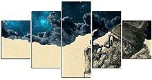 YUANJUN Framed 5 Piece Canvas Wall Art Picture