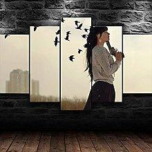 YUANJUN Lonely Girl Abstract5 Parts Modern