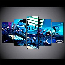 YUANJUN Playing Framed 5 Piece Music Canvas Wall