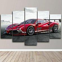 YUANJUN Racing Car 5 Piece Canvas Wall Art Print