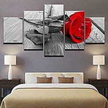 YUANJUN Red Rose Flowers 5 Piece Canvas Wall Art