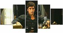 yuanjun Scarface Al Pacino 5 Pieces Canvas Wall