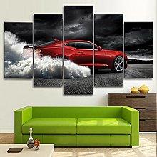 YUANJUN Smoke Sports Car 5 Pcs Canvas Pictures