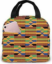 Yuanmeiju African Kente Insulated Lunch Bag Cooler