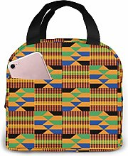 Yuanmeiju African Kente Insulated Lunch Bag Cooler