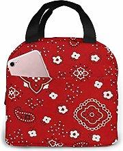 Yuanmeiju Bandana Prints Red Lunch Bag for Women